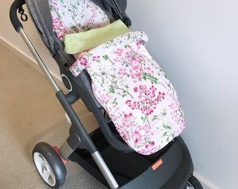 Stokke Crusi pram liner seat cushion cover with or without removable matching Sleeping Bag Cotton Bamboo
