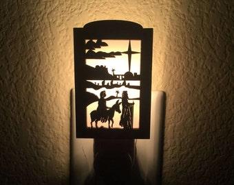 Ride to bethlehem - Night Light Plug In - Jesus Night Light - Religious Art - Bethlehem - Night Light Nursery - Religious Night Light