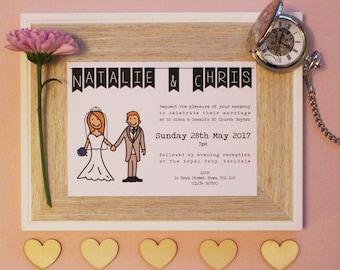 50 Personalised Wedding Couple Invitations