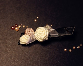 Elegant triple rose hair clip_special occasions_girly_floral_hair accessory