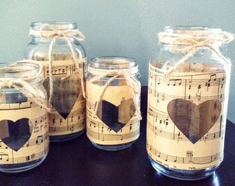 Vintage Sheet Music Mason Jars rustic Wedding Centerpiece