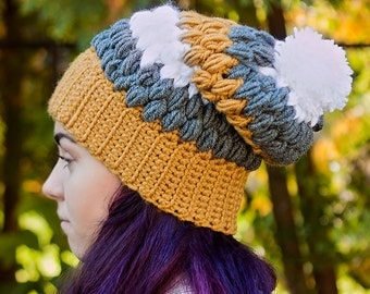 Crochet Puff Stitch Hat with Pom Pom *Multi-colour*