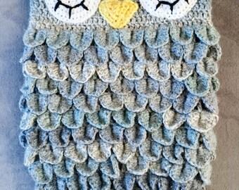 Crochet grey owl cocoon, owl photo prop, cocoon prop, Grey baby cocoon, Newborn cocoon, owl baby gift , sleeping bag , papoose, 0-3 3-6,