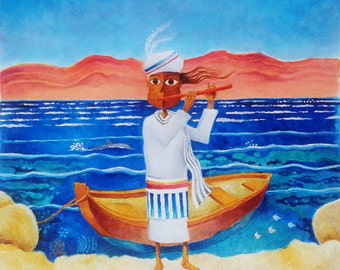 SEA SONG,new folk art, naive art, wall art, original acrylic painting, original canvas art, contemporary wall art, israeli art, illustration