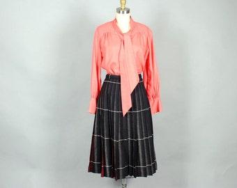 VOLUP salmon pink secretary blouse . 70s secretary blouse
