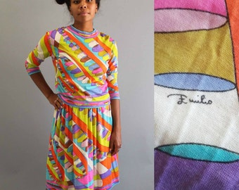 vintage 1960's Emilio Pucci dress . cashmere & silk Pucci dress . small medium skirt and top set, vintage Pucci dress, psychedelic mod skirt