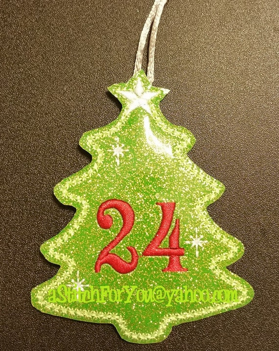 Ith advent christmas tree ornament number set in the hoop for Number of ornaments for christmas tree