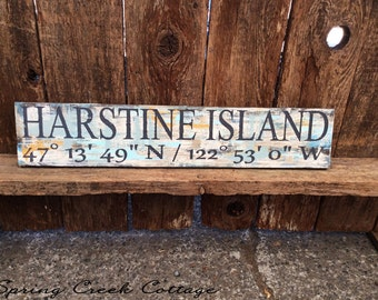 Coastal Living, Custom Coordinates, Latitude & Longitude Signs, Signs, Lake, Cabin, GPS, Wood Signs, Handpainted, Personalized Signs