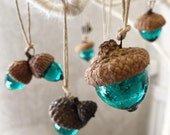 Acorn Christmas Ornament handmade glass OOAK - unique art object small sculpture window sun catcher aqua blue pretty aquamarine