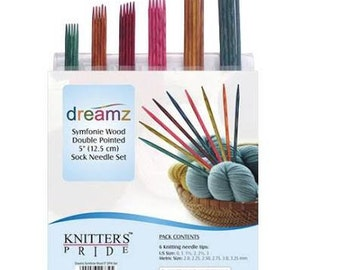 """Knitters Pride Symphonie Dreamz Sock Needle Set, 6"""" Sock Knitting Needle Set, Double Pointed Needle Set, Wood Knitting Needles with Case"""