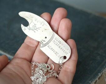 Vintage Figural Pointing Hand Spin It Bottle Opener Necklace / Schaffter's Restaurant Souvenir