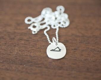 Tiny Virginia Necklace Silver Virginia Necklace State Charm State Necklace VA Small State Charm Virginia Charm Virginia Necklace