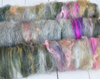Textured, Carded Art Batts - Windswept - 5.1 ounces - Spinning