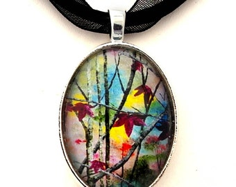 Autumn Leaves Necklace Handmade Art Pendant Gypsy Boho Bohemian Jewelry Tree Branch Black Ribbon Necklace Handcrafted Laura Milnor Iverson