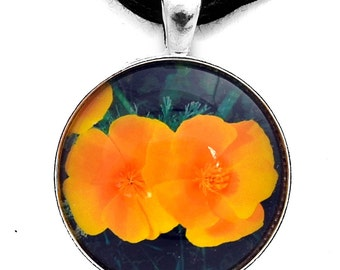 Two California Poppies Necklace Handmade Fine Art Photo Pendant Jewelry Gift for Her Laura Milnor Iverson