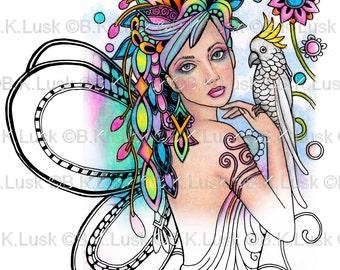 B. K. Lusk - Digital Download Digistamp- Clipart Zentangle Bird Parrot Cuckatoo Fairy Coloring Page - Tattoo Flash Scrapbook Craft Art