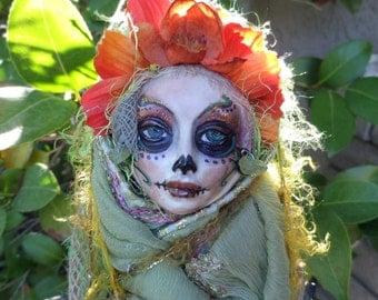 RESERVED Sugar Skull, Halloween spirit, Ooak Art Doll, Serenity Spirit, Garden Keeper, Nature Goddess, Art doll,