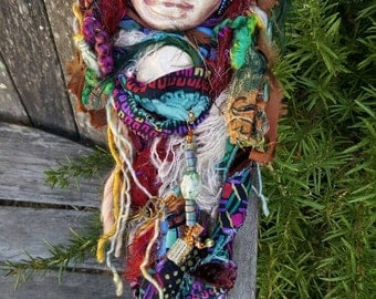 Red Moon, Goddess Brigid, Light of Compassion,  Doula Spirit Art Doll ooak