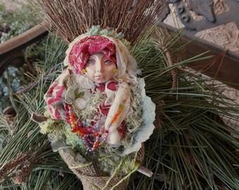 Bohemian Spirit, Garden Goddess, Spirit Art Doll, Doula companion, Equinox Nesting Moon, Wall Decoration, ooak art doll, bridal shower gift