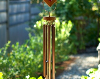 Wind Chimes Colorful Kaleidoscope With Large Copper Chimes Red Purple stained glass windchimes