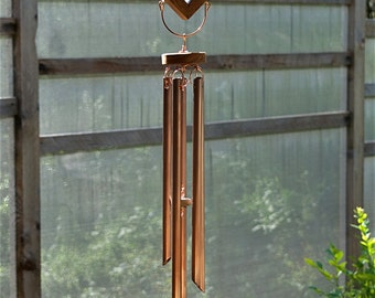 Wind Chimes Sea Glass Sun Catcher with Large Copper Chimes beach glass stained glass windchime