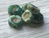 Flower beads - glass hawaiian flower beads czech flower beads aqua picasso - 12mm pack of 6