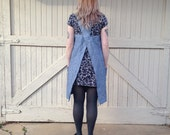 Linen pinafore with chambray pockets