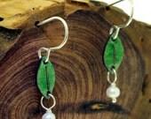 Leaves with Pearls  - enamel earrings by Kathryn Riechert