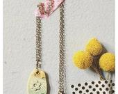 Ceramic necklace - ceramic jewelry - ceramic flower pendant on brass chain - beautiful handmade pottery jewelry gift