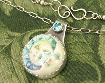 "Sun and Moon ""Friends"" - Ceramic and faceted Blue CZ Sterling Pendant - OOAK"