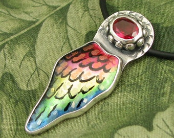 """Enameled Pendant """"Little Rainbow Wing"""" -  Sterling with faceted Ruby Corundum Stone - OOAK"""
