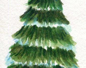 ACEO Original Christmas Tree Watercolor Painting, Art Card, Christmas decor, tree with star, snow