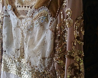 Gold Dress, Exquisite, Shimmering, Vintage Lace, Hand Sewn, Recycled, Upcycled, Sheer, Chiffon, Party Dress, AllThingsPretty