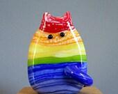 Aaron FatCat Rainbow Cat Bead Handmade Lampwork Focal by Teri Persing
