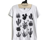 S,M,L,XL-  Tri-Blend Heather White Dolman Tee with Cactus Screen Print