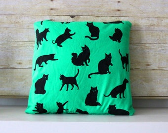 Hand Screen Printed Pillows Green Cat Pattern - One and Only of Each made