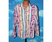Italian Made L'UOMO in Kamicia Abstract Bright Multicolored Large Shirt