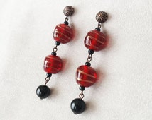 Handmade Vintage Italian Lampwork glass earrings, Red and Black long dangle earrings, gift for vintage lover, gift for her, gift for wife