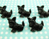 10 Vintage BLACK Plastic Scottie Dog Buttons Scotty 18mm