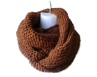 Russet Brown Light Weight Circle Scarf Infinity Scarf Vegan Loop Men Women CHELSEA Ready to Ship Brother Sister Gift - Autumn Winter Fashion