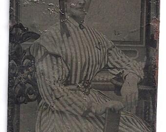 Baltimore tintype striped dress Victorian lady dress fashion striped