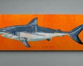 Shark Decor- Bull Shark Art Block- Beach Theme Bedroom- Shark Nursery- Fish Art- Bull Shark Print- Gifts for Boyfriend- Gifts