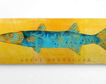 Fish Gifts for Boyfriend- Gifts for Him- Great Barracuda Art Block- Saltwater Fish Art- Beach Home Decor- Wall Art for Men- Dad Gifts