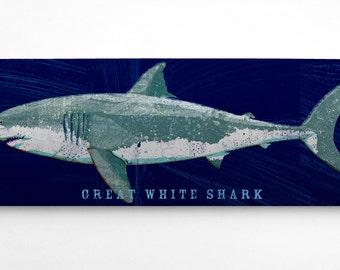 Shark Decor- Great White Shark Art Block- Navy Background- Beach Theme Bedroom- Shark Nursery- Fish Art- Great White Shark Print