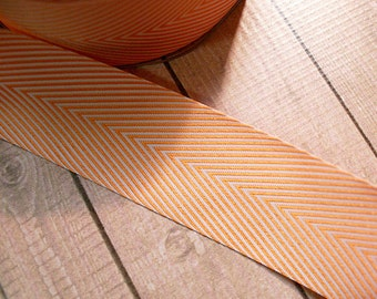 1 yard of 1.5 inch Shiny-Orange Chevron Ribbon, Fall, Autumn, Halloween Crafts and Decor