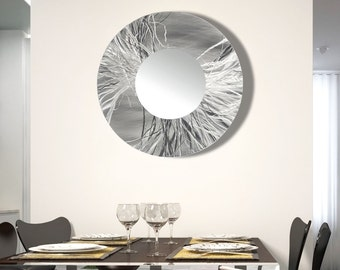 Round Modern Metal Wall Art Mirror, Large Contemporary Metal Decor Art, Silver Abstract Hanging Wall Mirror - Mirror 104 by Jon Allen