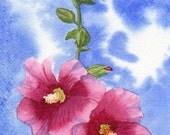 brilliant sky Hollyhocks FLOWERS original watercolor SFA portrait