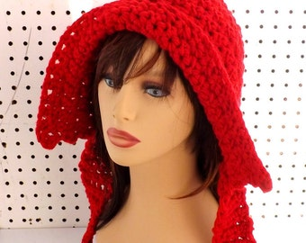 Crochet Hood, Crochet Hat Womens Hat Crochet Scarf, Hood Scarf, Hooded Scarf, Winter Hat, Ear Flap Hat, Red Hat, MAIDEN