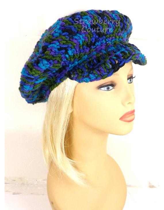 Peacock Crochet Hat Womens Hat Trendy,  Sun Hat,  Womens Crochet Hat,  Crochet Newsboy Hat,  Brimmed Beanie Hat,  Peacock Hat,  ANNIE