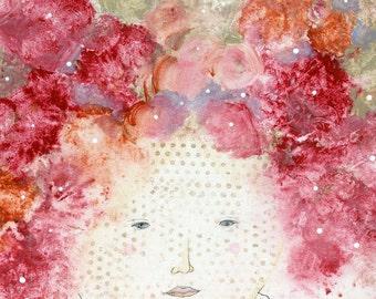 Flower Art Print , Flower Painting, Girl Art, Pink Painting, Large Canvas Print, Girl Painting, Nursery Art